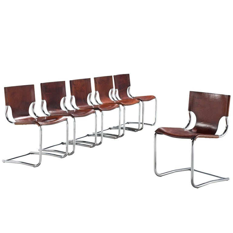 Carlo Bartoli Original Brown Leather Dining Chairs, 1971