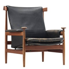 """Early Finn Juhl """"Bwana"""" Chair with Original Leather"""
