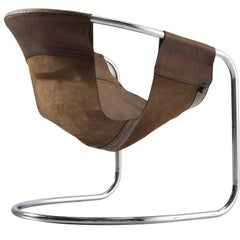 Clemens Claessen Ba-As Brown Leather and Tubular Chair