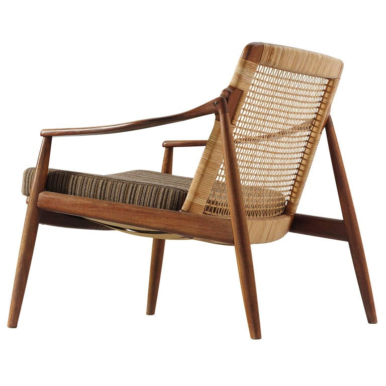 Hartmut Lohmeyer Armchair in Teak and Cane For Sale