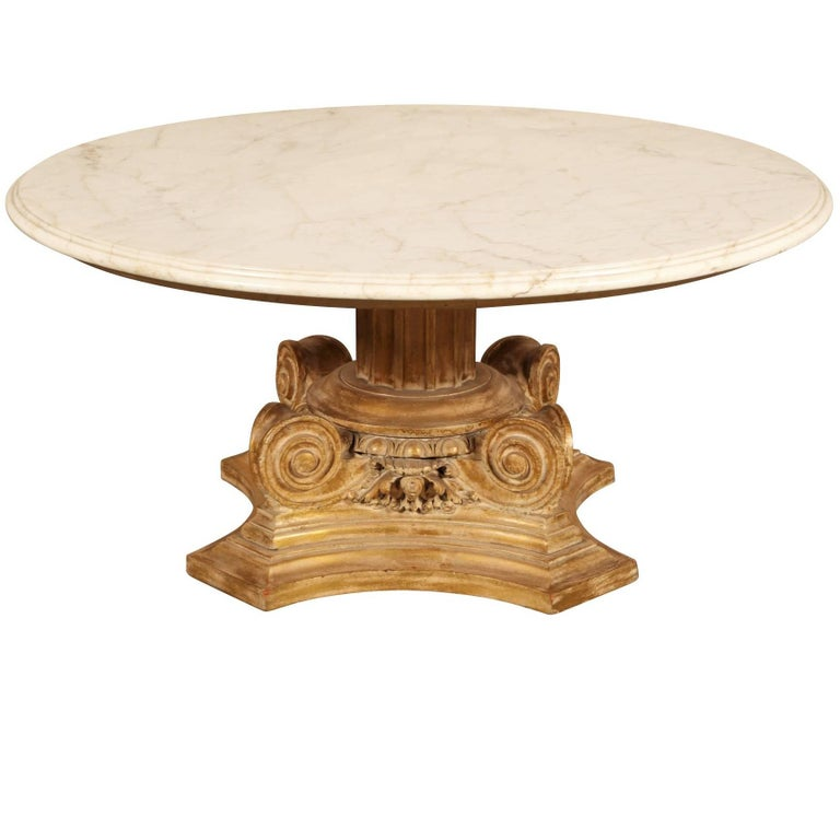 Coffee Table Bases For Marble Tops: Marble-Top Column Base Coffee Table At 1stdibs