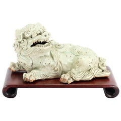 Japanese Porcelain Shi-Shi Lion Dog on Later Carved Scroll Stand