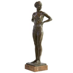 Art Deco Modernist Bronze Figure of a Female Nude