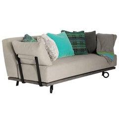 Contemporary Design Wood and Tubular Iron Sofa