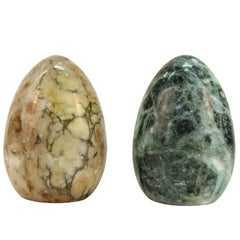 Pair of Marbled Stone Paperweights