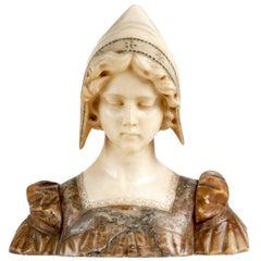 Italian Alabaster Bust of a Girl, circa 1890