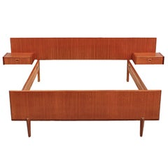 Mid-Century Modern Double Bed with Floating Night Tables, circa 1950s