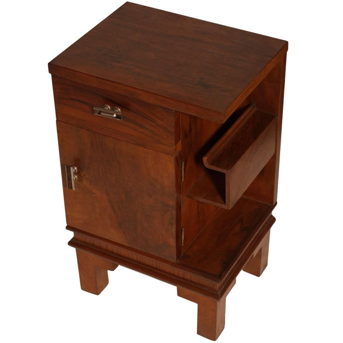 Art Deco Cabinet Nightstand in Walnut, Burl Walnut Osvaldo Borsani Attributed