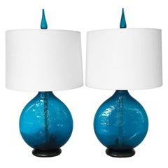 Pair of Wayne Husted Cerulean Blue Glass Tables Lamp for Blenko
