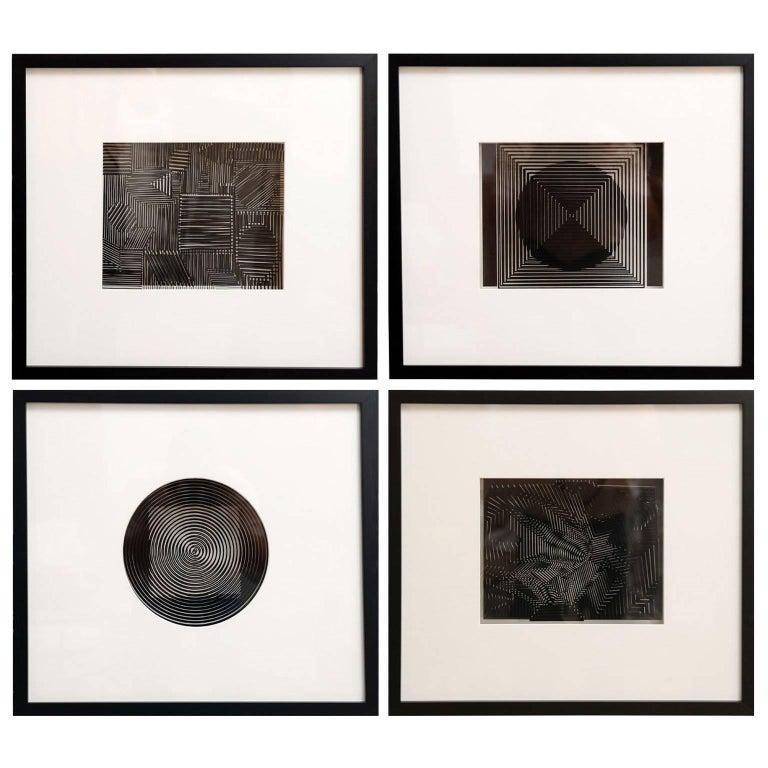 Four Original Victor Vasarely 3D Op Art Prints