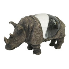 Gabriella Crespi Silvered Bronze Rhino