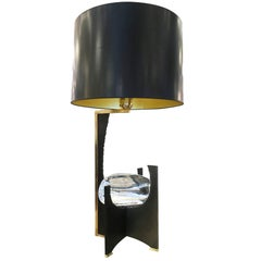 """Galileo"" Black Iron and Glass Table Lamp by Esperia  for Gaspare Asaro"