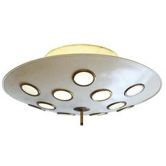 Saucer Flush Mount Chandelier Attributed to Arredoluce, Italy, 1950s