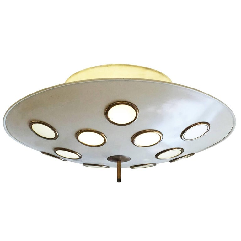 Saucer Flush Mount Chandelier Attributed to Arredoluce, Italy, 1950s For Sale