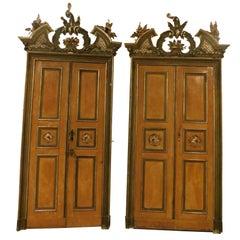 Antique Lacquered Door with Original Frame
