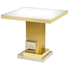 Brass 1970s, Geometric Dining Entry Table with Chrome Details Mirror Top, France