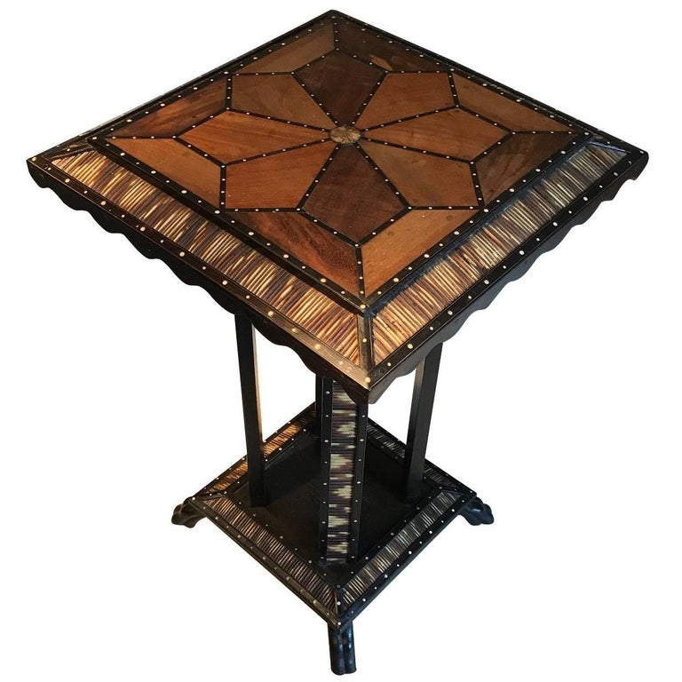 Anglo Indian Inlaid Wood Octagonal Side Table, India, 19th Century