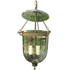 Lovely 19th-20th Century English Hand-Etched Grape Bell Jar