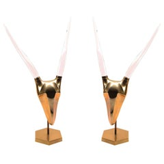 Pair of Lucite and Brass Ram Sculptures, circa 1970s