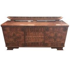 Art Deco Walnut Wood Sideboard from France