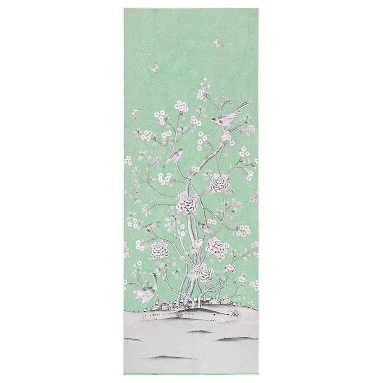 Schumacher Mary McDonald Chinois Palais Floral Aquamarine Wallpaper Panel