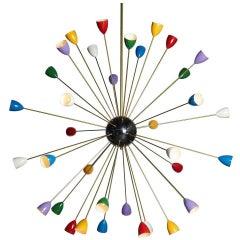36-Light Italian Stilnovo-Style Sputnik Chandelier, circa 1960s