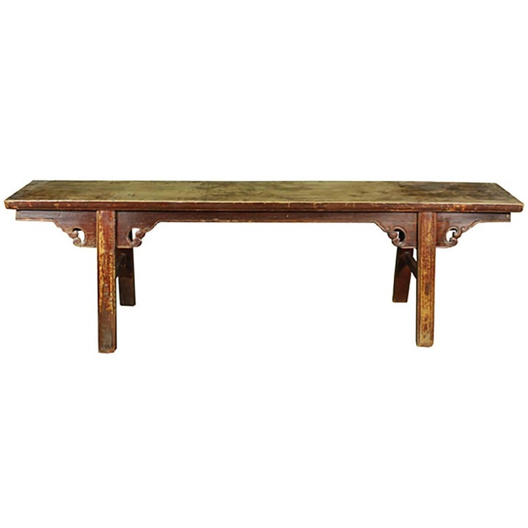Chinese Lacquered Bench with Splayed Legs