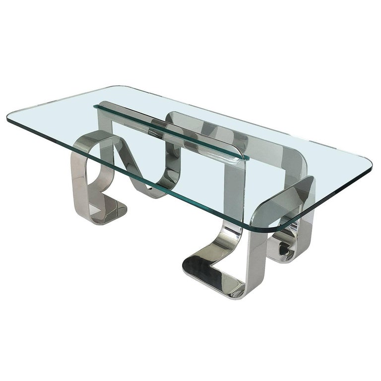 "Rare Sculptural Polished Steel ""Jason"" Coffee Table by Gary Gutterman"