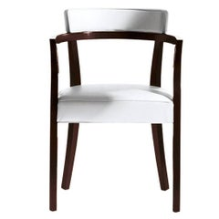 """""""Neoz"""" White Armchair in Mahogany Designed by Philippe Starck for Driade"""