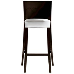 """Neoz"" Mahogany White Stool with Back Designed by Philippe Starck for Driade"