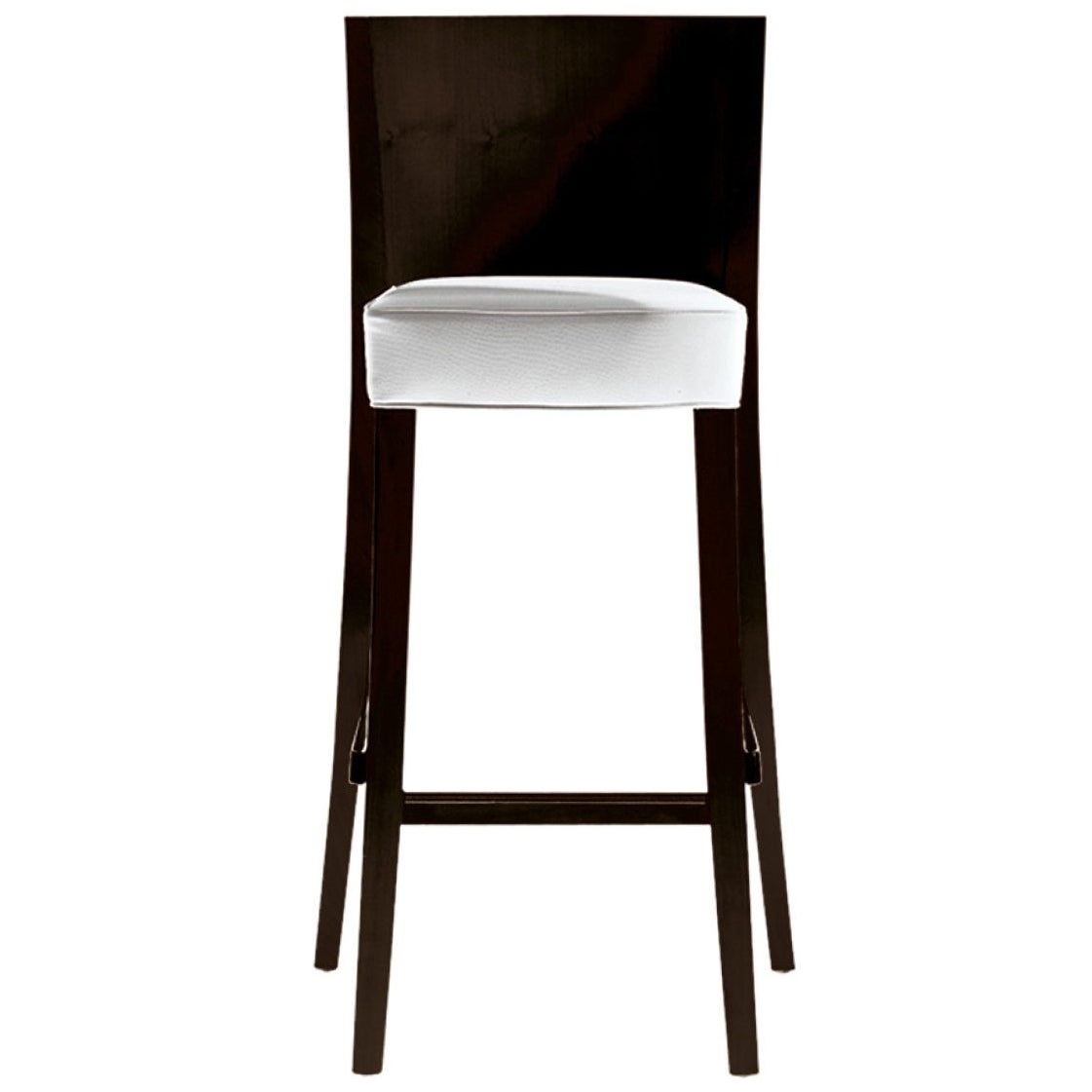 """""""Neoz"""" White Stool in Mahogany with Back Designed by Philippe Starck for Driade"""