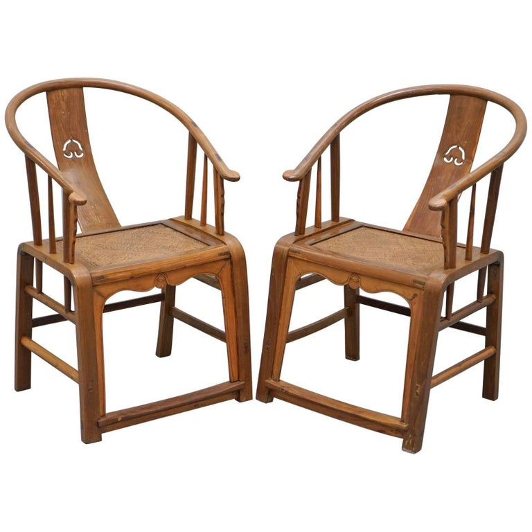 Pair of Chinese Ox Back Horseshoe Chairs, circa 1920s, Hand-Carved Timber