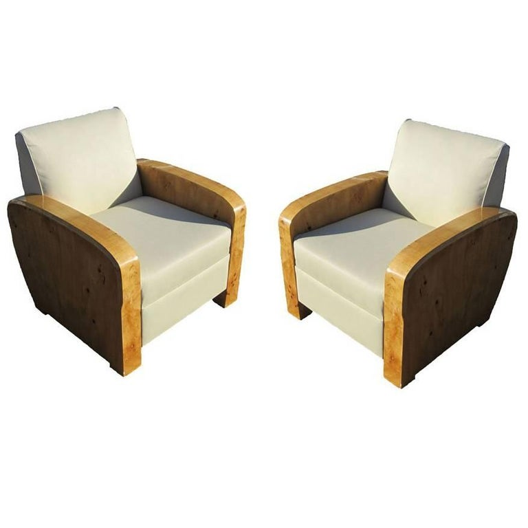 Pair of Burled Maple Art Deco Style Lounge Chairs