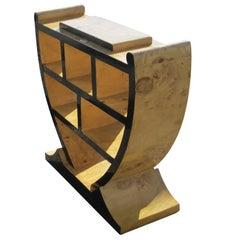 Art Deco Style Three-Tier Maple Burl Shelf