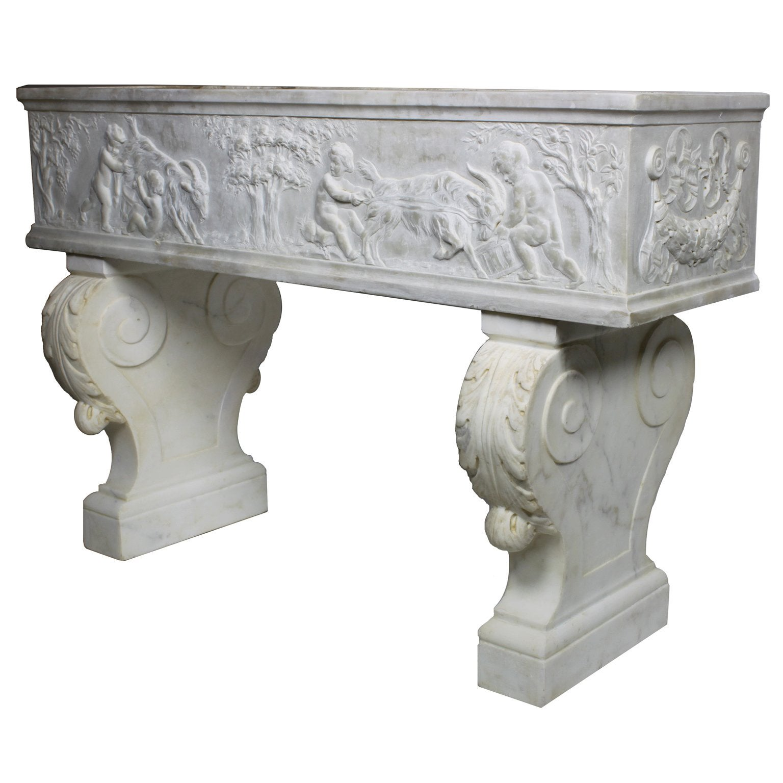 French 19th Century, Whimsical Rococo Style Marble Carved Planter with Children