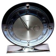 1930s Art Deco English Blue Mirror Clock by Smiths