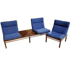 Modular Arthur Umanoff Dimension 28 Walnut Sofa and Chair Set for Madison