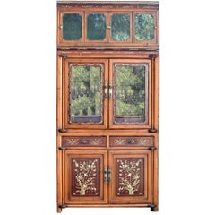 Antique Bone Inlaid Cabinet, Chinese Glass Curio, Circa 1900