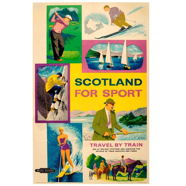 Original Vintage Scotland For Sport British Railways Poster: Golf Skiing Sailing For Sale