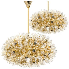 Pair of Huge Gold-Plated Chandelier by Emil Stejnar for Rupert Nikoll