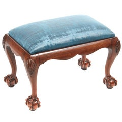 Antique Mahogany Claw and Ball Stool