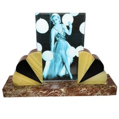 Art Deco Fan Shaped Marble Picture Frame, circa 1930