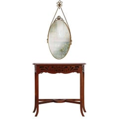1910s Art Nouveau Console in Carved Walnut with Mirror in Gilded Bronze
