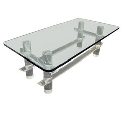 Les Prismatiques Lucite and Glass Coffee Table