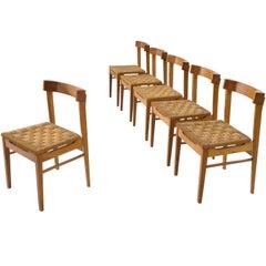 Set of Six Oak and Rope Dutch Chairs