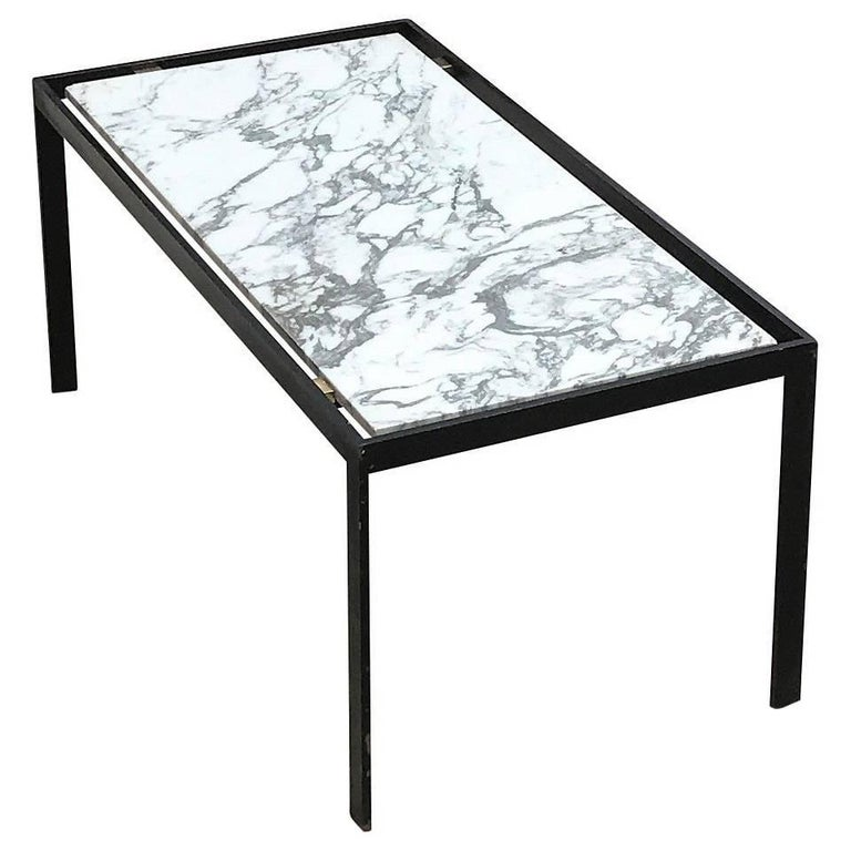 Minimalist Marble And Lacquered Steel Coffee Table France 1960s For Sale At 1stdibs
