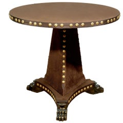 Tiberius Velvet covered Pedestal Table with Velvet Base