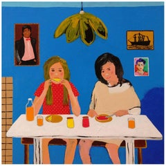 'Early Birds' Portrait Painting by Alan Fears 1980s Girls