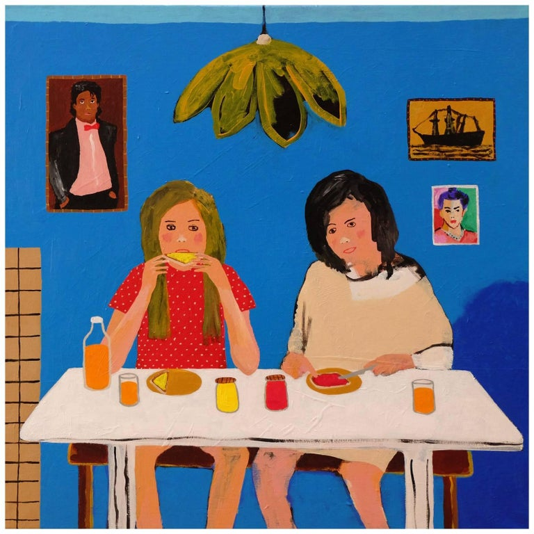 'Early Birds' Portrait Painting by Alan Fears 1980s Girls For Sale