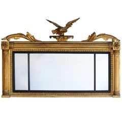 Large Regency Country House Carved Giltwood Overmantel Mirror, circa 1810